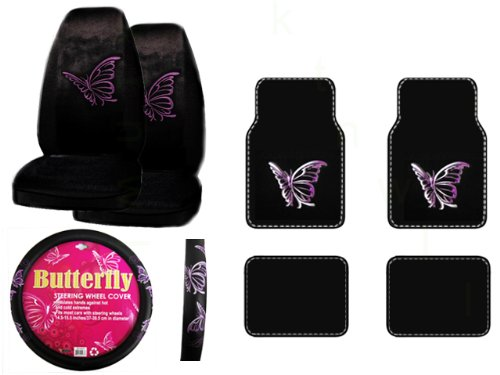 A Set of 4 Universal Fit Plush Carpet Floor Mats and A Set of 2 Universal Fit Seat Covers and 1 Comfort Grip Steering Wheel Cover - Multiple Purple Butterflies (Purple Fairy Seat Covers compare prices)