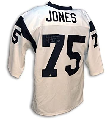 Autographed Deacon Jones Los Angeles Rams White Throwback Rams Jersey
