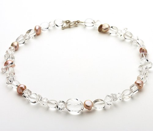 Lascala Pink Fresh Water Pearl And Clear Quartz Necklace
