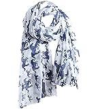 Kobwa(TM) Women Lady Fashion Voile Horse Print Soft Long Scarf Wrap Shawl with Kobwa's Keyring