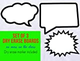 Set of 3 Dry Erase Boards with Marker. Durable and Waterproof.