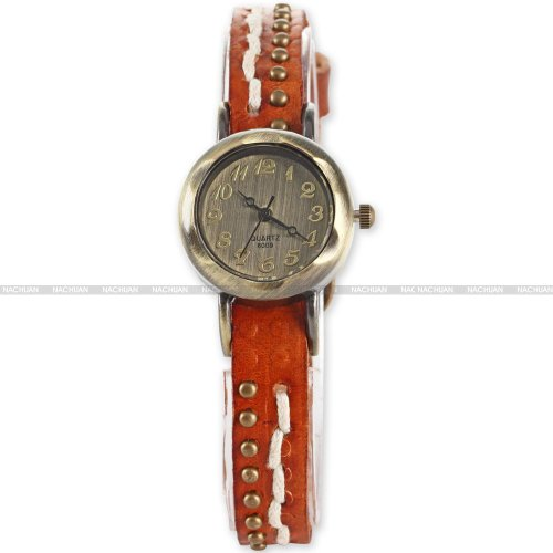AMPM24 Retro Bronze Women Lady Slim Bracelet Orange Leather Analog Quartz Wrist Watch