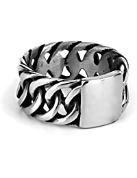 Imported Cool Punk Rock 316L Stainless Steel Chain Ring For Men Size 11 Silver