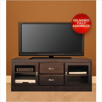 Cheap Custom House Cabinetry 60160C-2 62″ Two Drawer TV Stand with Contemporary Handles in Mocha Doors: Natural Twig Inserts (60160CN2)