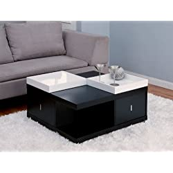 Furniture of America Morgan Square Coffee Table with Serving Tray, Black