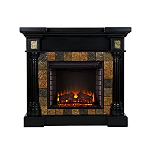 Sei Carrington Convertible Electric Fireplace Slate Black Kitchen Dining
