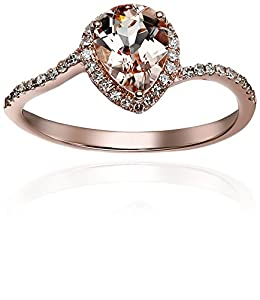 10k Rose Gold Morganite and Diamond Princess Diana Pear Shape Engagement Ring (1/5cttw, H-I Color, I1-I2 Clarity), Size 7 from Amazon Collection