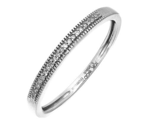 Modern 9 ct White Gold Women Half Eternity Diamond Ring Brilliant Cut 0.05 Carat GHIJ-SI3-I2