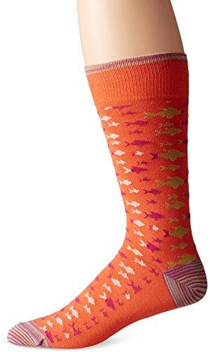 Robert Graham Men's Fish Story Crew Sock, Orange, 10-13/Shoe