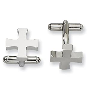 Stainless Steel Cross Cuff Links - JewelryWeb