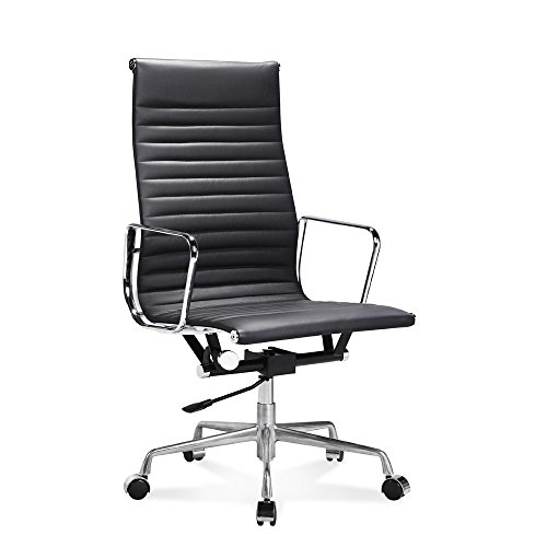 Artis Decor Ribbed Low and High Back Executive Office Chair Made with Upholstered Genuine Italian Leather, Swivel and Polished Aluminium Frame - High-Back Black