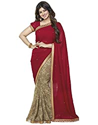 Arth Fashion Women's Georgette printed Saree With Blouse Piece (AYESHA33_Red_FreeSize)