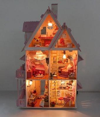 T&Lol Large Alice Dollhouse + Led Lighting + Furniture + Materials + Complete Diy Kit