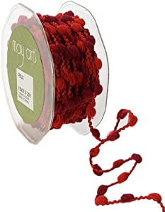 May Arts 3/8-Inch Wide Ribbon, Red and Burgundy Pom Poms