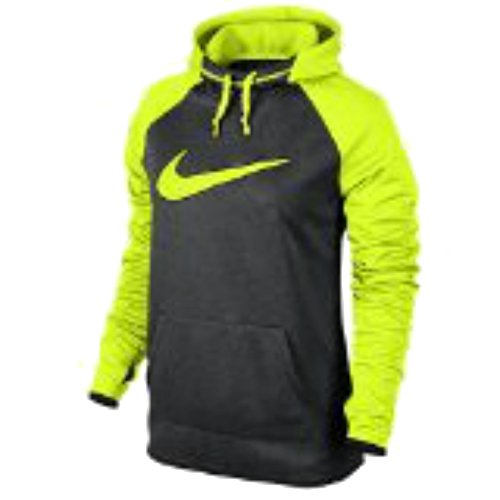 Nike Womens Therma All Time Swoosh Graphic Hoodie Black Heather Volt XS