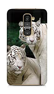Amez designer printed 3d premium high quality back case cover for LG G2 (White Bengal tigers)