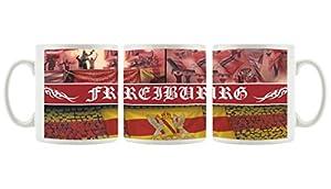 Ultras Freiburg als bedruckte Kaffeetasse / Teetasse aus Keramik, 300ml, weiß