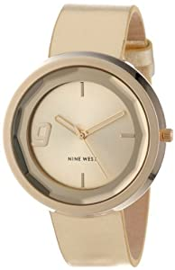 Nine West Women's NW/1356CHGD Round Gold-Tone Strap Faceted Crystal Watch