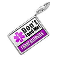 "NEONBLOND Charms Medical Alert Purple ""I have Allergys"" - Bracelet Clip On from NEONBLOND Jewelry & Accessories"