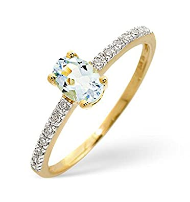 TheDiamondStore | Ring Set - Single Oval Aquamarine & Diamond - 9K Yellow Gold
