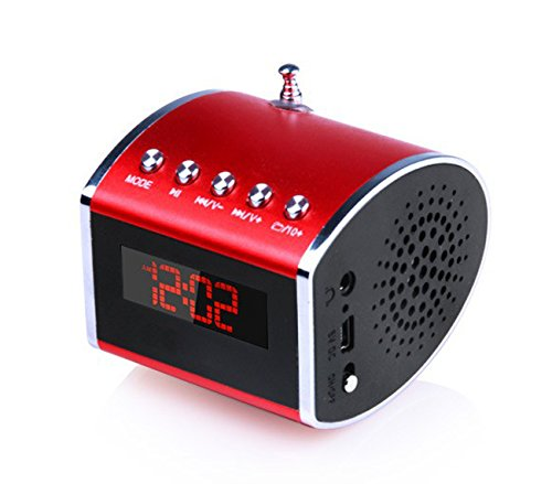 Bestfire® D16 Super Bass Stereo Mini Wireless Bluetooth Speaker Portable Mp3 Player Audio Amplifier Support Tf Card Usb Disk Fm Radio Clock Timing Calendar With Led Screen For Cellphone Desktop Laptop Table Pc Psp Mp3 Mp4 Etc. (Red)