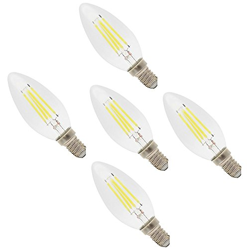LED Lampe C35 E14 4W Ersetzt 30W Glühlampe ,Kaltweiß ,280lm, Filament Kerze, 360°Abstrahlwinkel, 5er Pack