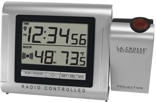 Radio-Controlled Weather Station Projection Clock Radio With Wireless Sensor...: Alarm Clocks ...