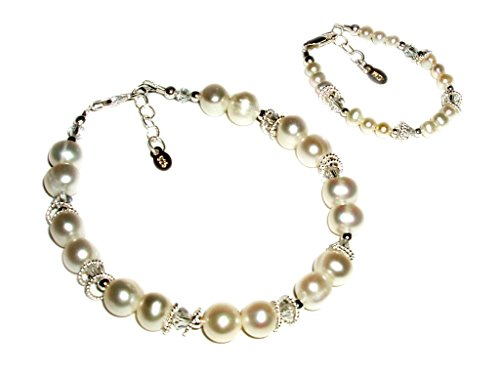 Sterling Silver Mom and Me Cultured Pearl Bracelet Set for Mother and Daughter (0-12 months)