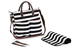 Classic Striped Black and White Cotton Diaper Bag including Changing Pad by Wasserstein