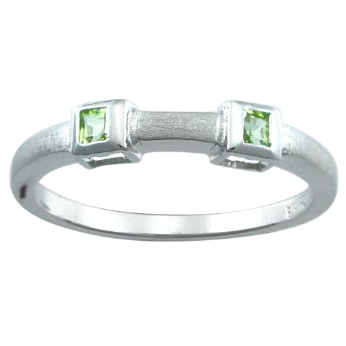 Sterling Silver Square Peridot Stackable Ring, Size 7