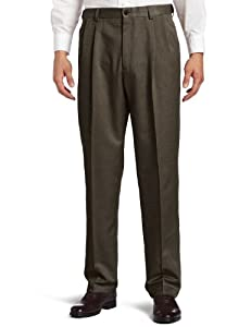 Haggar Men's Cool 18 Hidden Expandable Waist Pleat Front Pant by Haggar