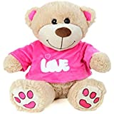 Absoluteplay Cute Teddy Bear With Pink T-Shirt Soft Toy - H 30cm