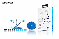 Awei ES710i Skyblue Headphones Earphone Flat Cable 3.5mm For iphone Mobile phone MP3 MP4 (Sky Blue)