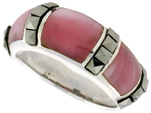 Sterling Silver Oxidized Dome Ring w/ Pink Mother of Pearl, 5/16