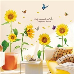 Romantic Sunflower Removable Decorative Wall Sticker For Smooth Surface, Living Room, Kids Room, Bedroom, Tv Sofa Background