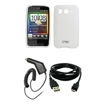White Silicone Skin Cover Case Car Charger CLA USB Data Cable for HTC Desire HD
