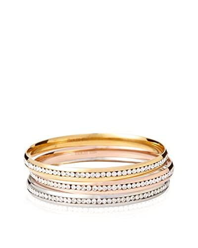 Chloe by Liv Oliver Tri-Color Crystal Bangle Set