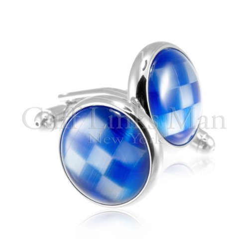 New - Checkered Cloud Catseye Cuff Links-CL-0041