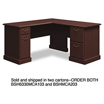 """60""""W x 60""""D L-Desk (B/D, F/F) Box 1 of 2 Syndicate, Mocha Cherry, Sold as 1 Each"""