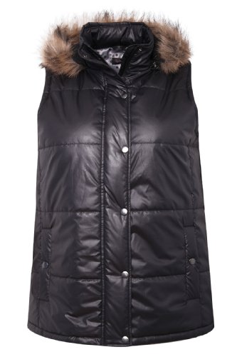 Charcoal Quilted Gilet With Removable Fur Trimmed Hood plus size 16,18,20,22,24,26,28,30,32 – Size 22