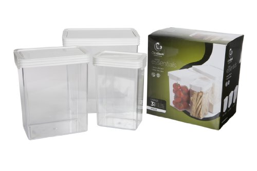 Click Clack Kitchen Essentials Large Airtight Canister Set of Three (Click Clack Containers Set compare prices)