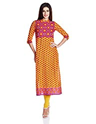 Vishudh Women's Straight Kurta (VNKU004758_Magenta_Medium)
