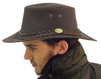 Campbell Cooper Australian Bute Leather Kangaroo Bush Hat - Brown - Small