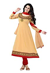 Parinaaz fashion Chiku Georgette unstitched Anarkali Salwar Suit dress material