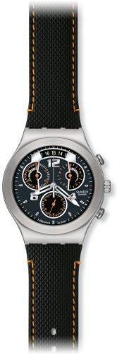 Swatch - YCS514 - Irony - Montre Homme - Quartz Analogique - Chronographe - Cadran Noir - Bracelet Résine Noir