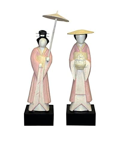 Asian Loft Set of 2 Japanese Geisha Statues, Multi