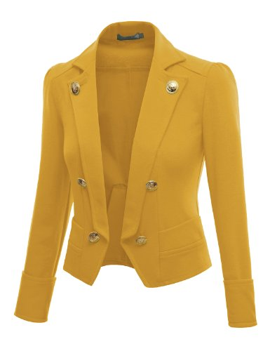 Doublju 3/4 Sleeve Short Crop Blzer Jacket MUSTARD (US-XL)