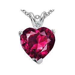 2.02 cts Created Ruby and Genuine Diamond Heart Pendant - 14kt White or Yellow Gold
