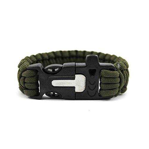 Tragbar Überleben Armeegrün Armband Feuerstein Feuer-Starter Notfall Handgelenk Seil