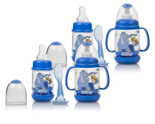 Nuby Infant Printed Bottle Feeder 4-Pack - Blue (Printed Baby Bottles compare prices)